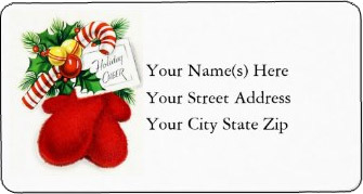 <h3>Vintage Holiday Cheer Mittens</h3> A pair of red mittens filled with toys and candy hang from the wall on this <u>vintage Christmas address label</u>. Gift card says Holiday Cheer.
