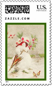 Stylish <em>red hat</em> snow woman with with an umbrella and flowers. Christmas birds in the foreground of this vintage <u>red hat Christmas stamp</u>.