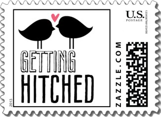 A very cute wedding stamp in black and white with the text