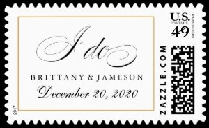A Chic I Do Wedding Stamp Simple and appealing personalized wedding stamp with