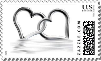 Entwined silver hearts love stamps allows this wedding invitation stamp to go with any colors for an elegant look.