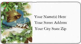 <h3>Country Christmas</h3> Snowy fields and a distant village are the background for ringing Christmas bells. A peaceful country scene on this <b>Christmas return address label</b>.