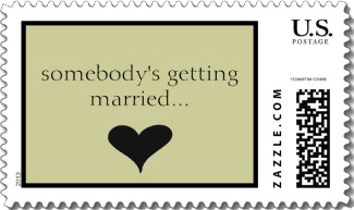 A fun wedding postage stamp that builds the excitement until your invitation is opened. Neutral colors with the text