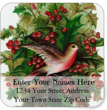 <h3>Christmas Bird Among Red and Green Holly</h3> Vintage color illustration of a red breasted Christmas bird on a holly branch fills this <i>decorative Christmas address label</i>.