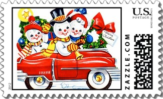 A vintage Christmas stamp of the Snow Family out for a drive to deliver a Christmas wreath. Very colorful.