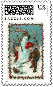 <em>Vintage snowman stamp</em> with two children building a snowman with Christmas holly border.