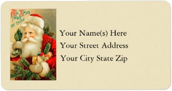 <h3>All Christmas Joys Be Thine</h3> This vintage Santa Claus is hurrying to deliver toys and trees. The upper right of this <i>Christmas address label</i> includes the text