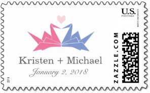 <h3>Origami Cranes As Heart Wedding Postage</h3>His and her's pastel origami cranes for a heart above your names and date. This is a nod to the ancient Japanese tradition of folding 1,000 cranes for a thousand years of happiness. <em>Japanese wedding stamp</em>.