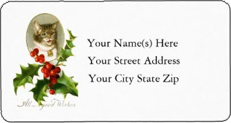 <h3>Christmas Kitten's All Good Wishes</h3> Cat lovers <i>Christmas return address label</i>. Cute vintage portrait of a kitten with red and green holly. The text