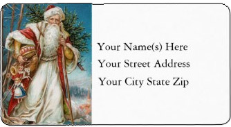 <h3>Victorian Santa Carrying Toys</h3> This <em>colorful vintage Christmas address label</em> shows Santa Claus with his arms full of toys and a Christmas tree.