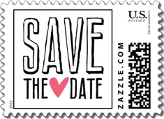 This fun save the date wedding stamp is a stark black and white with a stylized pink heart in the middle. Attention grabbing. Available in the less expensive small size only.
