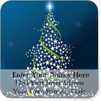 <h3>Swirling Stars Christmas Tree</h3> White stars and green ribbons swirl to form a Christmas tree. Blue background on this <u>Christmas return address label</u>.