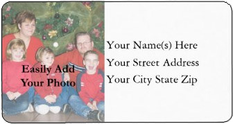 <H3>Easily Add Your Family Photo</h3> Create a fun <u>personalized Christmas address label</u> with your family photo and address.