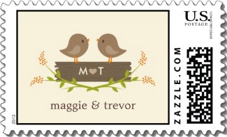 Two cute owls stand on a log with your initials on the side and your first names below. Done in soft colorful pastels. Very sweet wedding invitation stamp.