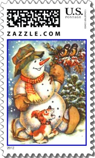 A cute happy snowman and his dog adorn this colorful and fun Christmas stamp as they take a walk through the falling snow.