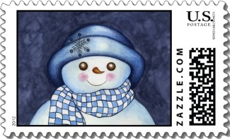 Folksy snowwoman in a blue hat and checkered scarf is set against a mottled blue background. Wonderful blues on this Christmas stamp.