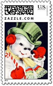 A dapper young snowman with his candy cane is out for an evening stroll on this <u>vintage snowman stamp</u>.