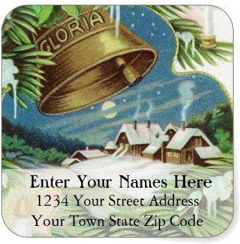 <h3>Snowy Country Christmas</h3> Snowy fields and a distant village are the background for ringing Christmas bells. A peaceful country scene on this <b>Christmas return address label</b>.