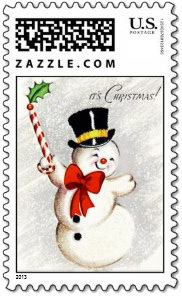 This vintage dancing snowman with his top hat and candy cane is a brings-a-smile-to-your-face <em>snowman Christmas stamp</em>. Could anybody be happier that