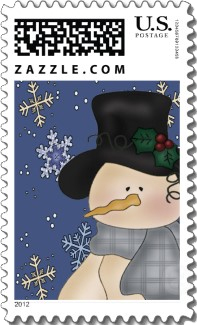 This cute snowman is wearing a black top hat embellished with holly and a plaid scarf. A Christmas stamp with many pleasing colors.