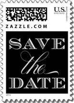A formal save the date wedding stamp with a black background and white text.