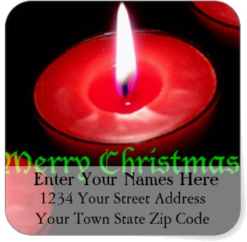 <h3>Flaming Red Christmas Candle</h3> A burning red Christmas candle fills the frame of this <u>Christmas return address label</u>. Merry Christmas in a green font.