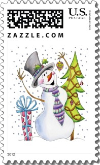 A whimsical Christmas stamp in soft pastels with a Christmas tree, present and a snowman looking up at the falling snow