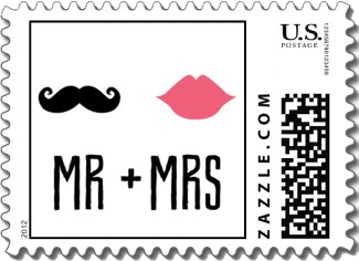 A fun wedding stamp with a black mustache and pink lips above