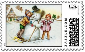 A fun <u>snowman Christmas stamp</u> with a vintage image of two children building a large snowman with a top hat and broom.