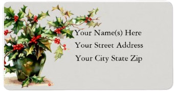 <h3>Vintage Vase of Holly</h3> This <em>Christmas return address label</em> frames your information with red and green holly in a vase.