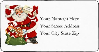 <h3>Santa Delivers Christmas Cheer</h3> This <u>Christmas return address label</u> has a vintage Santa Claus delivering a case of Christmas cheer plus toys.