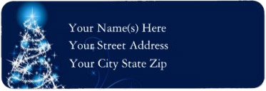 <h3>Glimmering Blue Christmas Tree</h3> Swirly modern blue Christmas tree on this blue background <u>Christmas address label</u>. Your text in white.