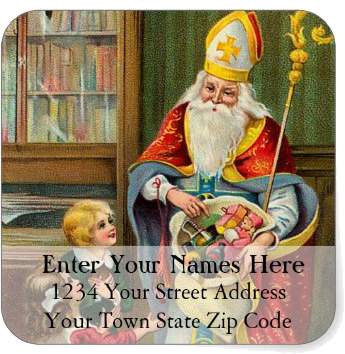 <h3>St. Nicholas Delivers Gifts</h3> Colorful vintage illustration of St Nicholas delivering gifts to children fills the frame of this <em>Christmas return address label</em>.
