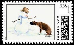 A fun snowman stamp with a boxer dog carefully sniffing out a snowman. A fun choice stamp for boxer lovers.