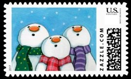 Cute and funny trio of snowmen looking up and the snow falling. Lots of color in this snowman stamp.