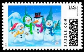 Colorful snowman stamp of a snowman family, The father mother and two kids with colorful scarves and hats. Stary filled blue night sky.