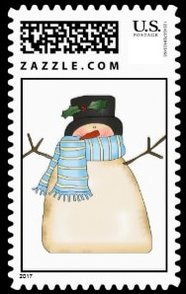 A funny and cute extremely bundled up against the cold. Peaking out from his blue striped scarf and top hat. A fun Christmas snowman stamp.