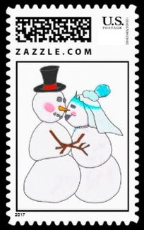 A fun Christmas stamp for those getting married in December. Snowman wedding postage stamp has a bride and groom kissing. Nice color.