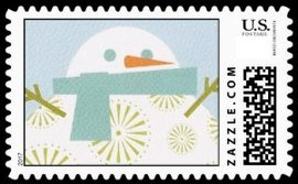 A fun modern art snowman with blue scarf and stick arms. Blue background and snowflakes in the foreground. Cute snowman stamp.